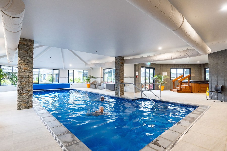 swimming in the indoor heated pool-Retirement Community-The Palms Lifestyle Village Whangarei